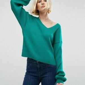 NWT Asos Sweater 6 V-Neck Pullover Balloon Sleeves